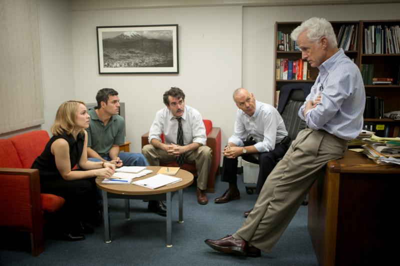 "Rachel McAdams, Mark Ruffalo, Brian d'Arcy James, Michael Keaton and John Slattery star in a scene from the movie ""Spotlight,"" which chronicles the Boston Globe's uncovering of the clergy sex abuse scandal in the Archdiocese of Boston in 2002. (CNS photo/Open Road Films) See SPOTLIGHT-VATICAN-NEWSPAPER Feb. 29, 2016."