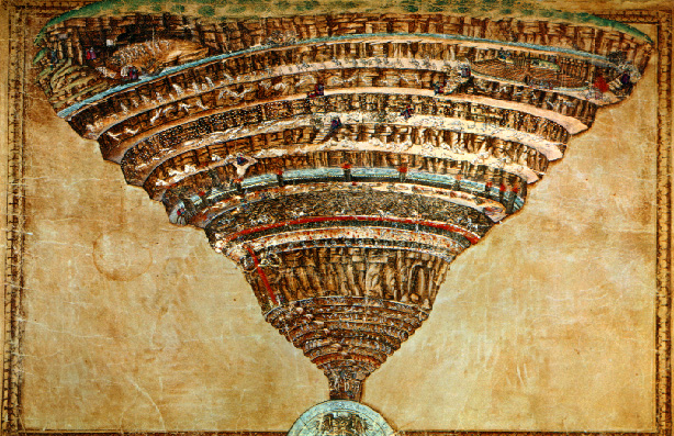 Sandro Botticelli's Map of Hell in Dante's Inferno in Florence in the late 15th century