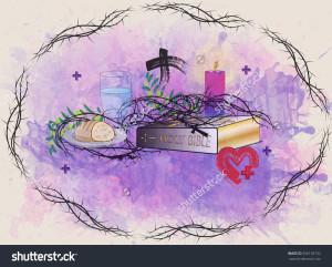 stock-photo-abstract-religious-lent-symbols-on-abstract-purple-watercolor-background-with-the-frame-of-thorns-350103152