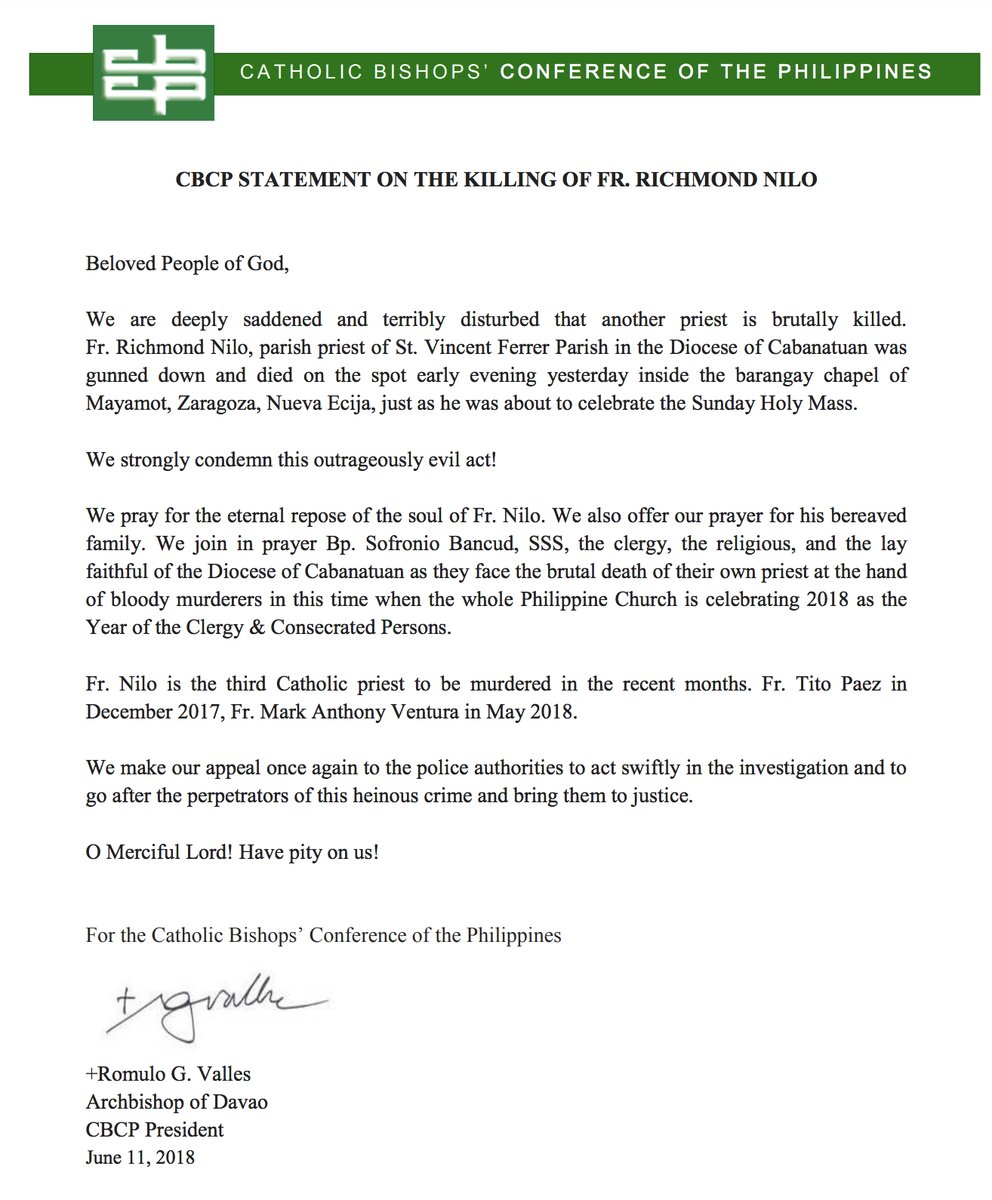 "The CBCP issued a statement condemning as ""outrageously evil act"" the killing of Fr. Richmond Nilo."