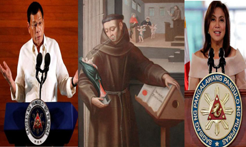 President Rodrigo Duterte (left), Blessed Duns Scotus (center), and Vice President Leni Robredo